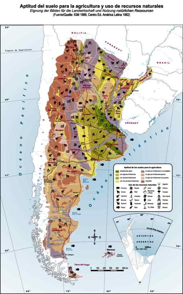 MAPA MURAL 4X5 APTITUD DEL SUELO PARA LA AGRICULTURA Y USO DE RECURSOS NATURALES
