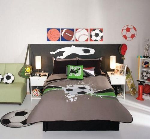 Boys Gray Soccer Balls Comforter Bedding Sheet Set E S