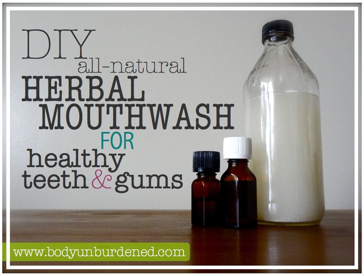 This DIY all-natural herbal mouthwash for healthy teeth & gums keeps bad breath away while helping to remineralize teeth and protect the gums!