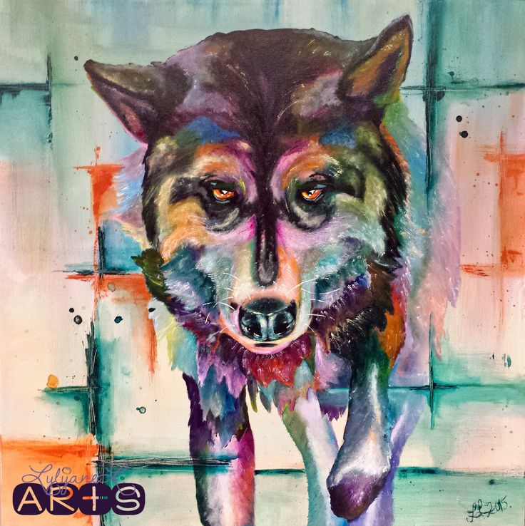 Dog portrait. Malamute acrylic painting inspired by the fauvism movement.
