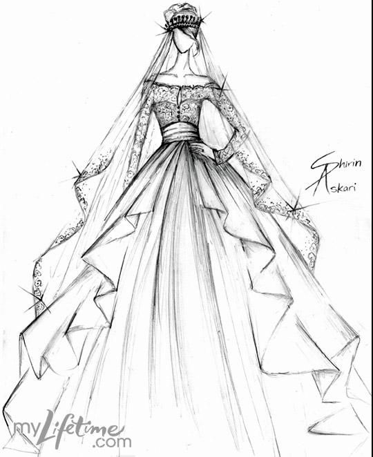 Kate Middleton wedding dress sketch by Shirin Askari