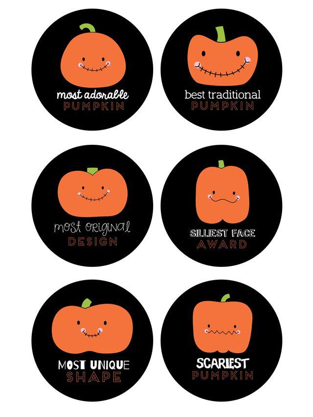 printable pumpkin carving awards celebrate halloween pinterest
