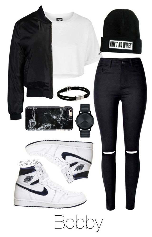 """""""Night with Bobby """" by ari2sk ❤ liked on Polyvore featuring Topshop, Sans Souci, NIKE, Movado and Felony Case"""