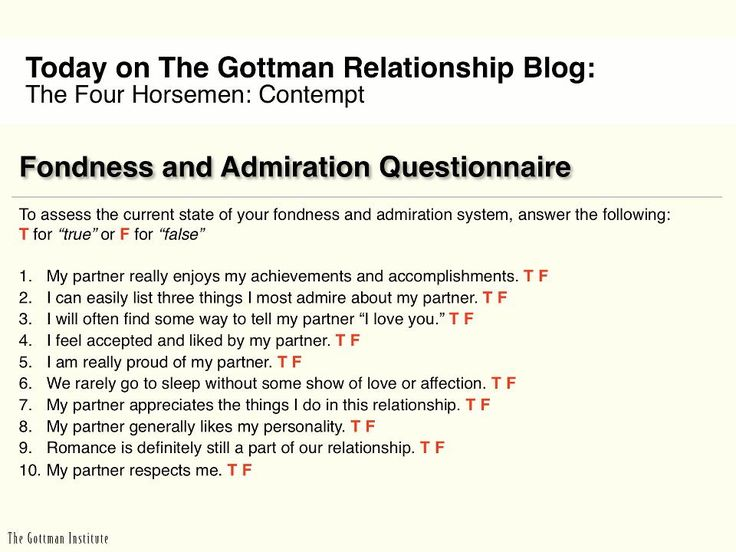 Let's talk about contempt - the worst of the four horsemen. In Dr. Gottman's four decades of research, he has found it to be the #1 predictor of divorce. Fondness and admiration are crucial to the long-term happiness of a relationship because they prevent contempt from becoming an overwhelming presence in your life.