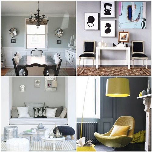 Yesterday we lauded the inspiring pairing of yellows and grays in general, but today it's time to get down to color specifics. The perfect gray can be quite elusive, especially when you're standing in a paint store among a sea of samples—every hue starts looking like a dreary storm cloud. Here are some tried and true favorites, from moody to mellow to downright glamorous...