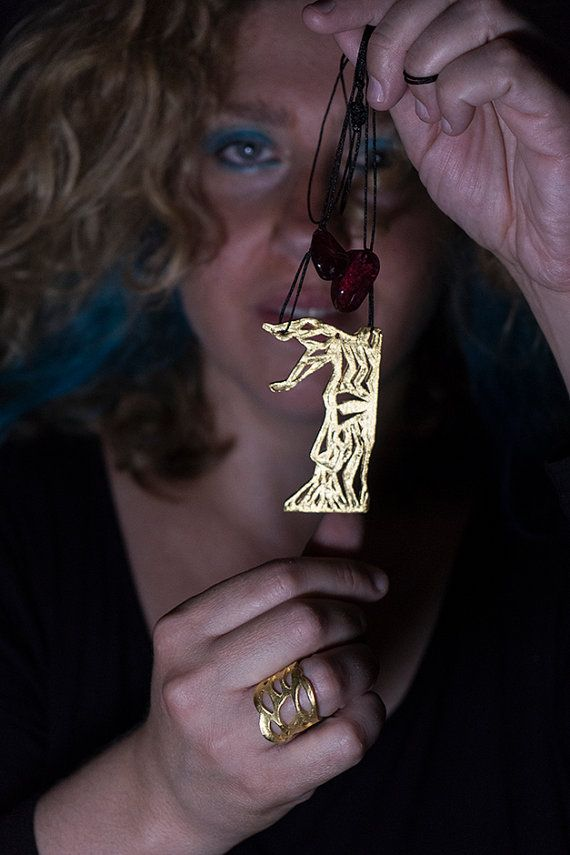 Handmade Gold Plated Brass Tree Pendant with Red Glass Beads