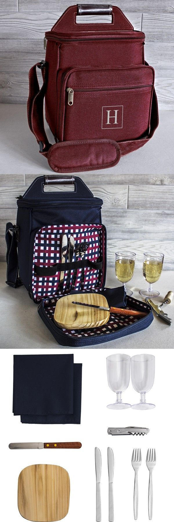 A unique gift that can be used all summer long for picnicking, family day trips, tailgating, and boating, this polyester canvas cooler custom embroidered with large single initial includes a 11 piece utensils set including 2 cloth napkins, 2 stainless knife and fork sets, 2 acrylic wine glasses, wood cheese board with cheese knife, and stainless steel bottle opener. This great summer gift idea can be ordered at…