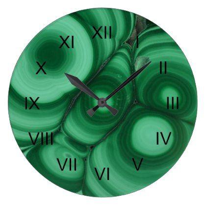 Green Malachite Image with Black Roman Numerals Large Clock  $33.45  by UntamedPhrase  - custom gift idea