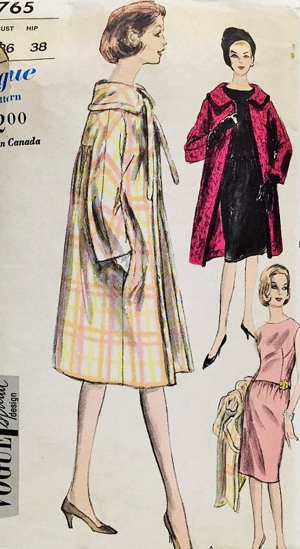 1960s Elegant 2 Pc Slim Dress and Straight Coat Pattern Vogue Special Design 5765 Day or Cocktail Party Bust 36 Vintage Sewing Pattern
