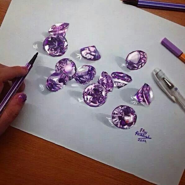 3D Diamonds, realistic drawing