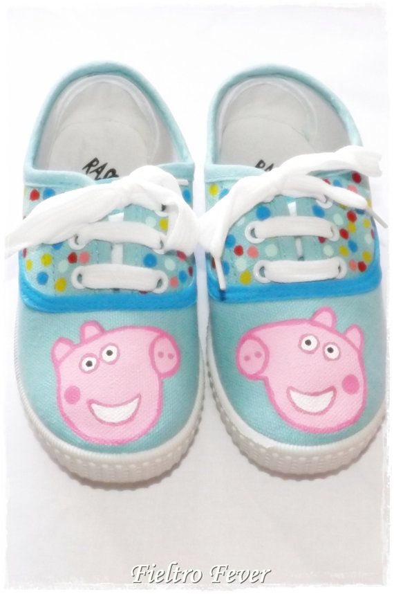 Peppa Pig Shoes, painted on plain shoes. I could do that!