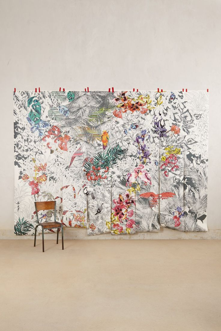 Birds of paradise mural wall floor for Anthropologie wallpaper mural