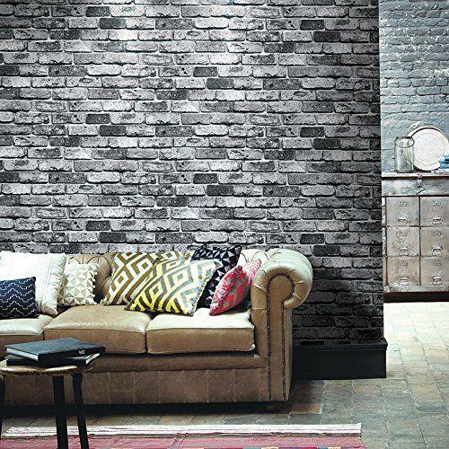 "HaokHome 69092 PVC Vinyl Retro Vintage Faux Brick Wallpaper Black for Home Bar Wall Decoration Wall Paper 20.8"" x 393.7"" HAOKHOME http://www.amazon.com/dp/B00NJIZTBK/ref=cm_sw_r_pi_dp_naEZwb0K6K1CA"
