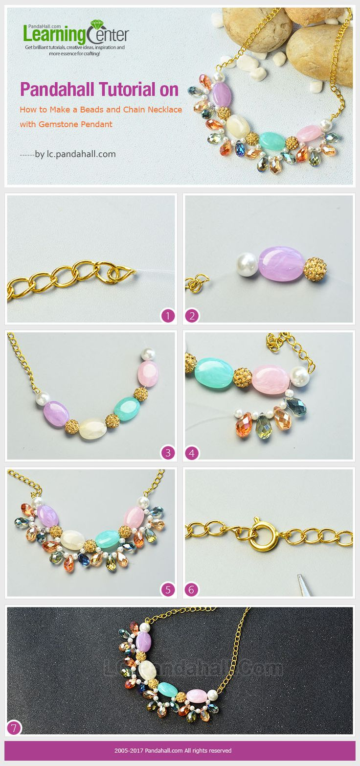 Pandahall Tutorial on How to Make a Beads and Chain Necklace with Gemstone Pendant