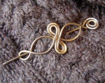 Little Brass Celtic Infinity Loops Shawl Pin by nicholasandfelice