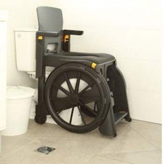 Folding commode chair that can travel with you. WheelAble is perfect for vacations or holidays. The chair fits through narrow passageways to wheel