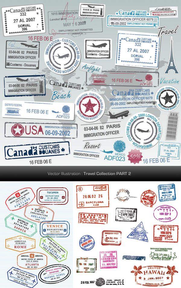 All for graphics and design: Passport stamps vector design set パスポートスタンプベクトルデザインセット Conjunto de diseño de vectores de sellos de pasaporte Pass Briefmarken Vektor-Design-Set Ensemble de conception de vecteur de timbres de passeport Set di progettazione vettoriale di francobolli di passaporto