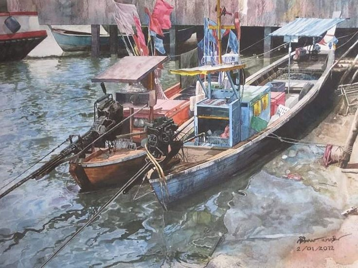 Small fishing boats#watercolorteacher #thaiwatercolorpainting #thaiwatercolor #painting #landscappainting #art#artstudio #artgallery #aquarius #aquarelle #watercolorstyle #watercolorist #watercolorteacher #watercolortechniques