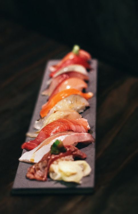 Nigiri Sushi: Amberjack, Tuna (otoro and lean), Yellow-Tail, Pine fish, Squid, Salmon, etc. Ja Bistro, Toronto Posted by thykhuely