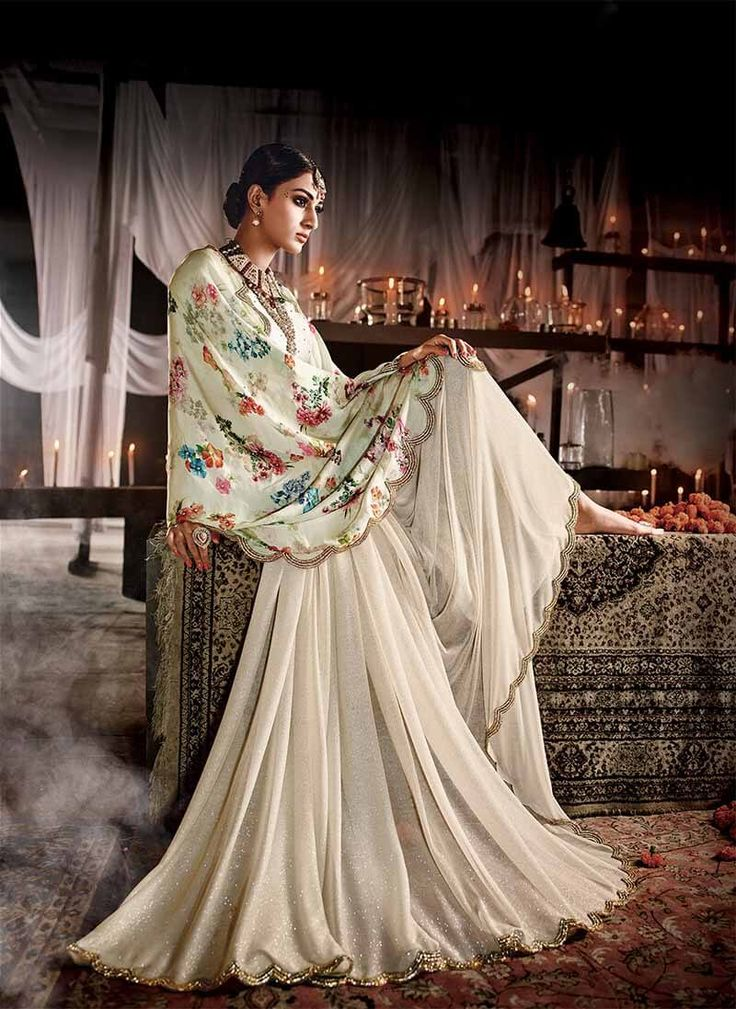 Digital print pallu stylish Cream saree in pure satin silk and lycra fabric