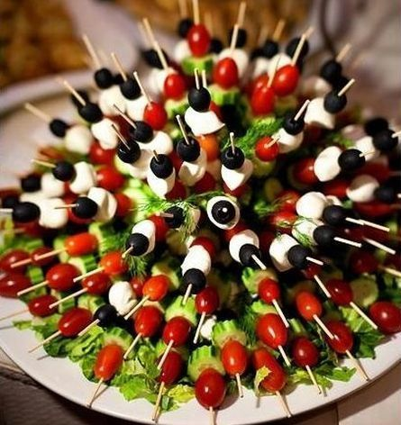 Veggie appetizer kabobs are easy ways to serve your vegetables.  See more vegetable appetizer and party ideas at one-stop-party-ideas.com