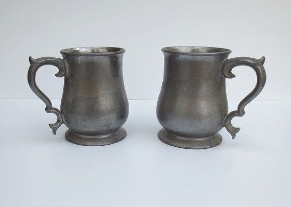 Two Cast Aluminum Medieval Mugs Heavy By