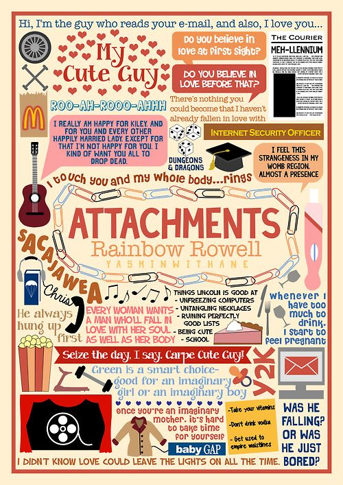 Book Collage for Attachments by Rainbow Rowell I changed my mind, Attachments isn't my favourite Rainbow Rowell book anymore, THEY ALL...
