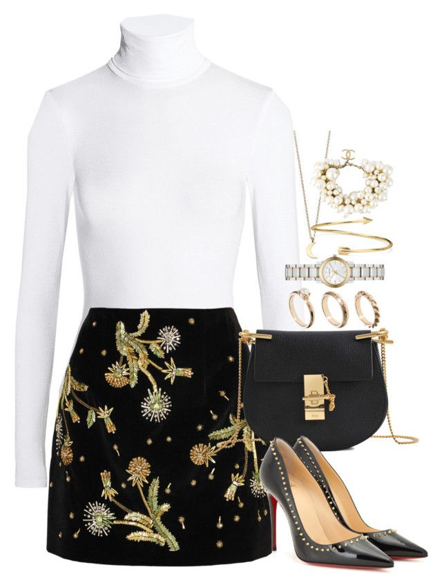 """""""Untitled #3454"""" by lily-tubman ❤ liked on Polyvore featuring Wolford, Topshop Unique, Chloé, Christian Louboutin, ASOS, Burberry, Minor Obsessions, Blue Nile and Chanel"""