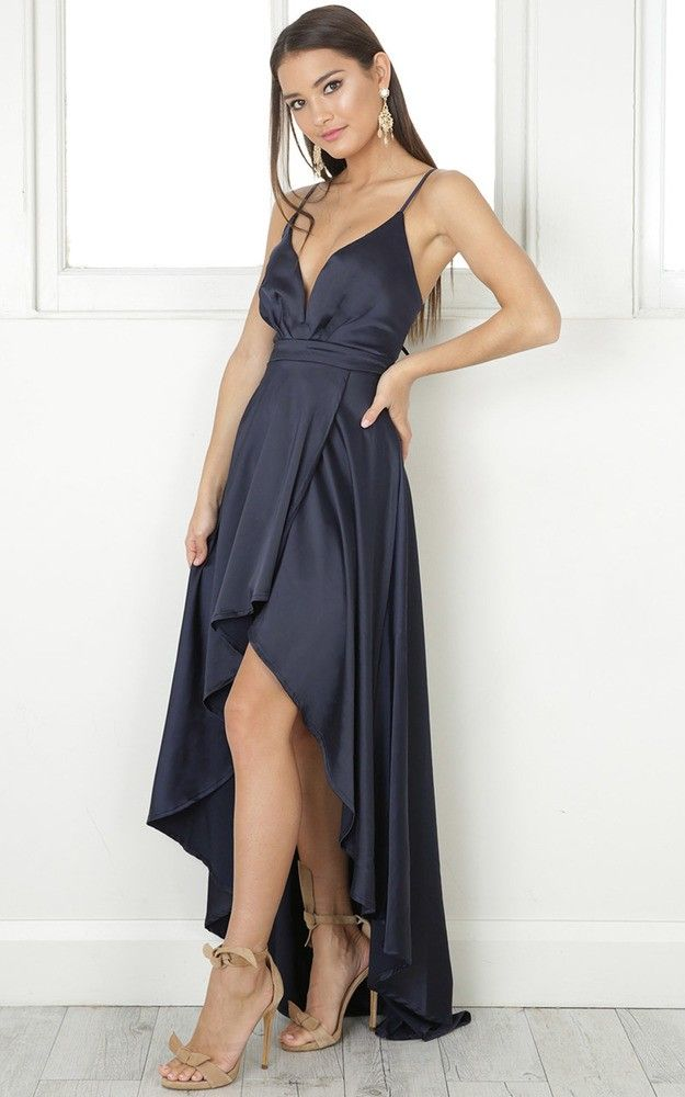 6986369ed33d2 Rich Girl Maxi Dress In Navy Satin in 2019 | Декор | Girls maxi dresses,  Dresses, Romper with skirt