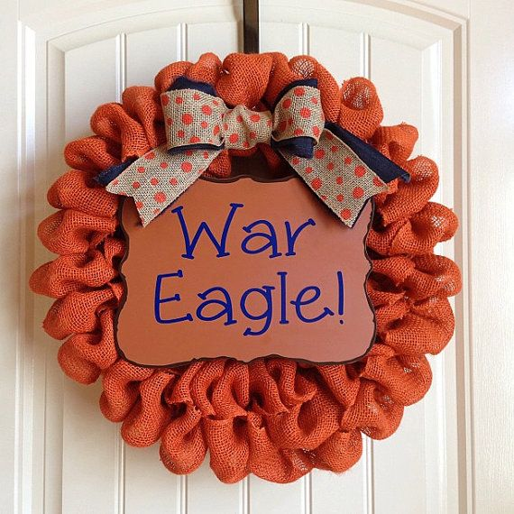 Auburn Tigers Burlap Wreath With Polka Dot Orange and Navy Bow- War Eagle on Etsy, $65.00
