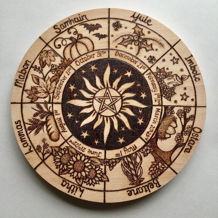 Pyrography Witches Wheel of the Year, Pagan Celebrations ...