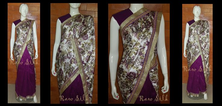 Half and half , Soft floral satin with purple semi raw silk pleats, with a thin purple kundan and gold border.