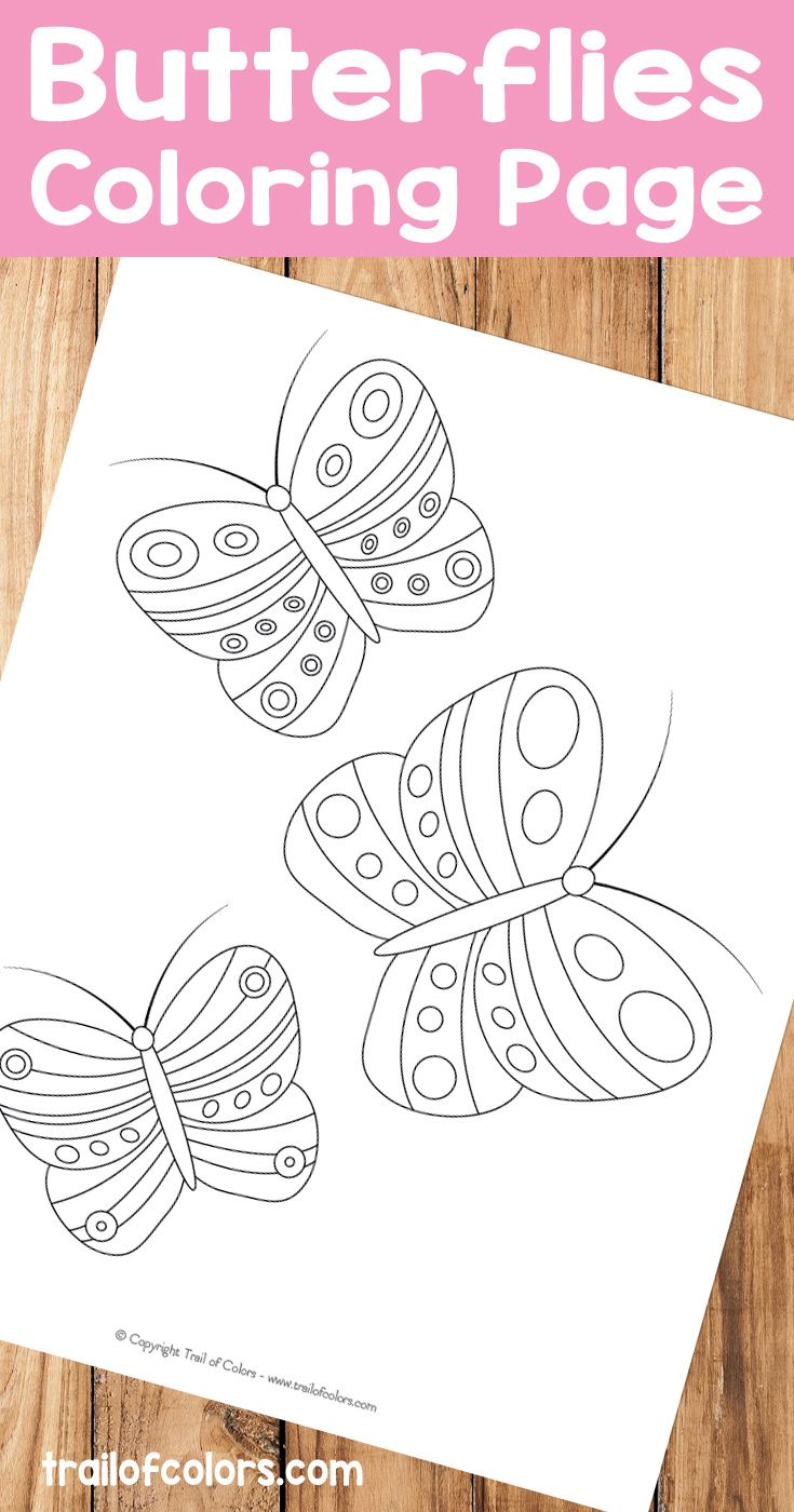 Spring coloring pages for upper elementary - Cute Butterflies Free Printable For Kids