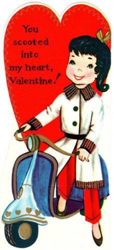 GIRL WITH VESPA MOTOR SCOOTER  VINTAGE  VALENTINE CARD