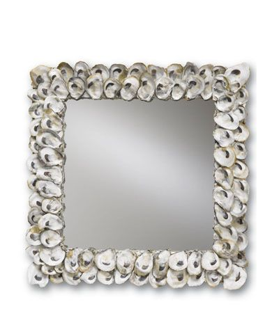 Square Oyster Shell Mirror - Natural Shell