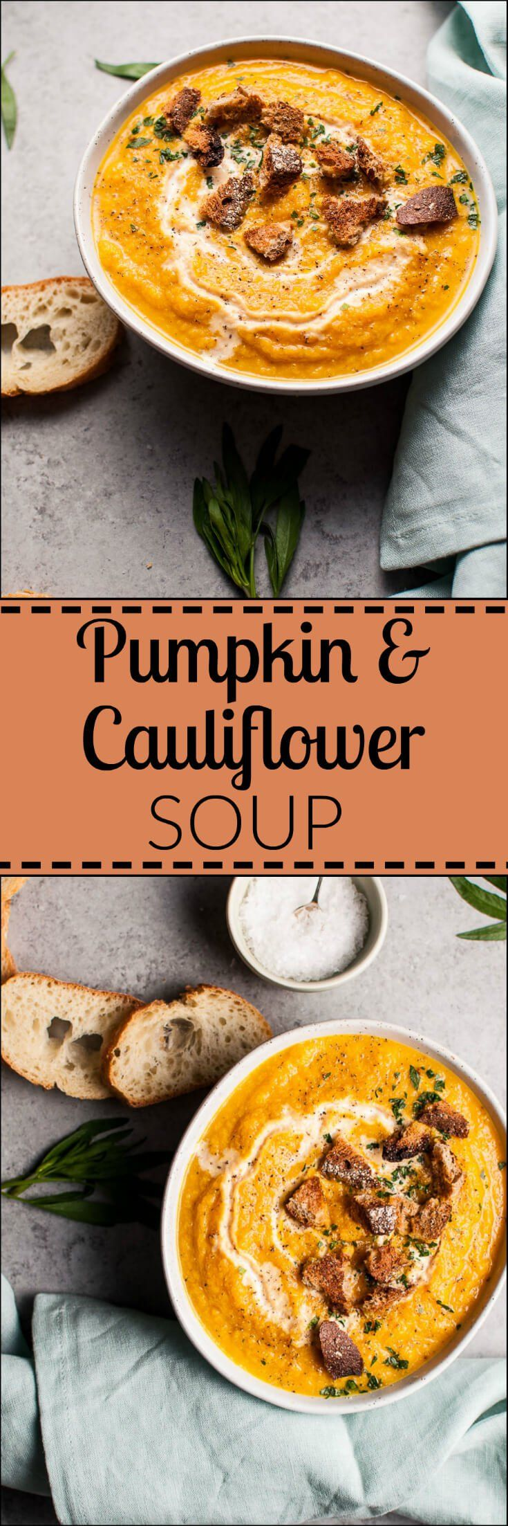 One-Pot Comfort Food: This Pumpkin & Cauliflower Soup also happens to be vegan! Serve as a meal or an appetizer.  Credit: Salt and Lavender