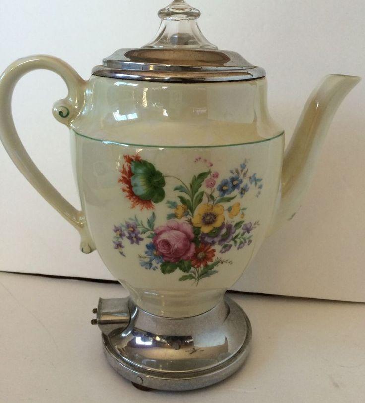Coffee Maker Glass Pot : Vintage Ceramic Porcelain Electric Percolator Flower Coffee Tea Pot Glass Top Vintage ceramic ...