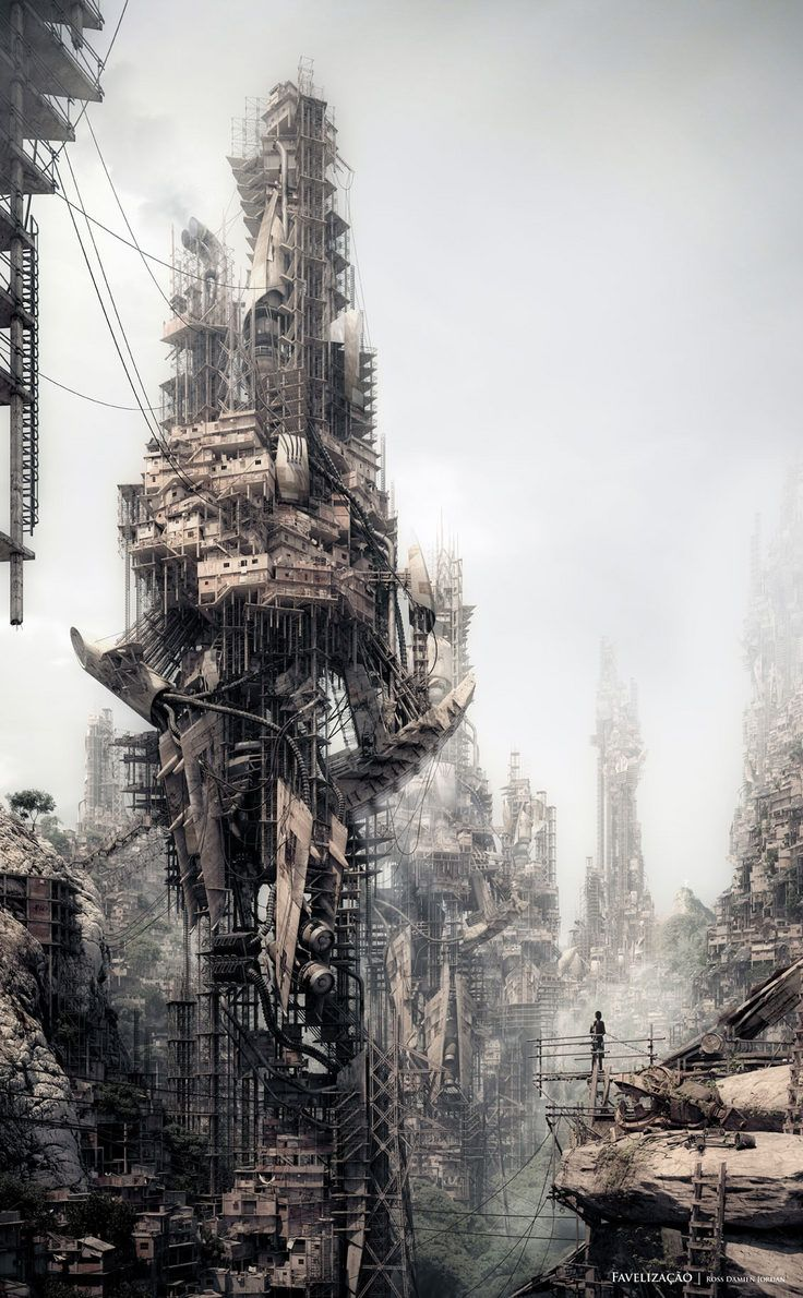 A futuristic dystopian land! This is such a detail piece of drawing and well balanced.