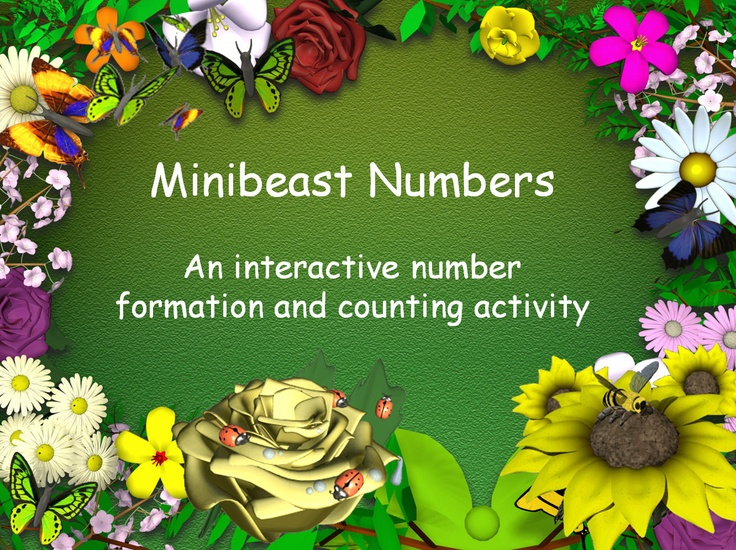 A simple number presentation with a minibeast theme. This has two sections: number formation and counting. Captions are in Comic Sans, Numbers are traditional, with straight line down for one and a straight back 4 and 9. Very bright and colourful with sound, animations and the 'magic pencil' technique used on my other number and letter formation presentations