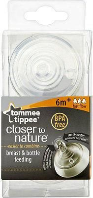 Here we have for sale is one pack of 2Tommee Tippee Closer to Nature Easivent Fast Flow Teats 6mth+ Designed in conjunction with breastfeeding experts, the rev
