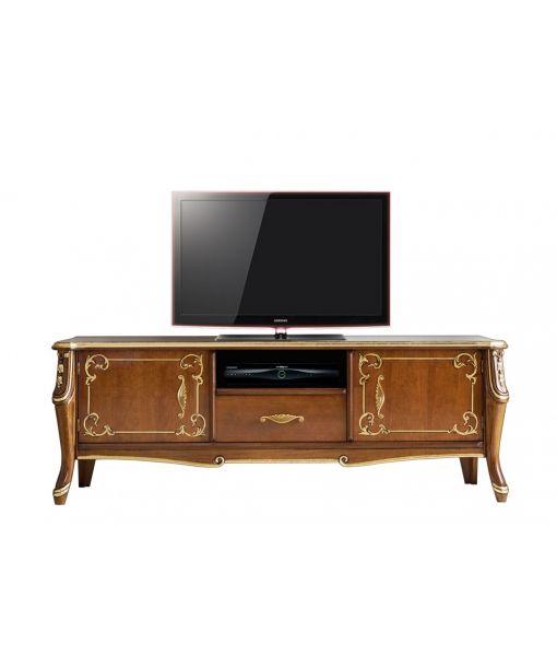 Mobile porta tv di lusso della bellissima collezione Beautiful. In stile classico con decorazioni oro argento e foglia oro, Art. 6701 http://www.styledesign.it/prodotto/mobile-porta-tv-beautiful-line/