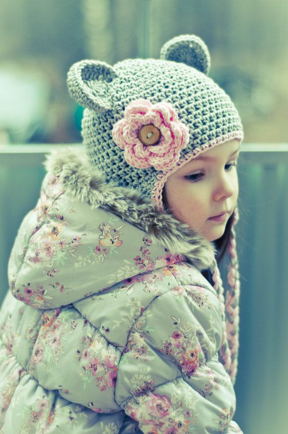 Crochet Hat, Baby Girl Hat, Girls Cotton Crochet Ear Flap Beanie Hat with Ears and Ties, MADE TO ORDER