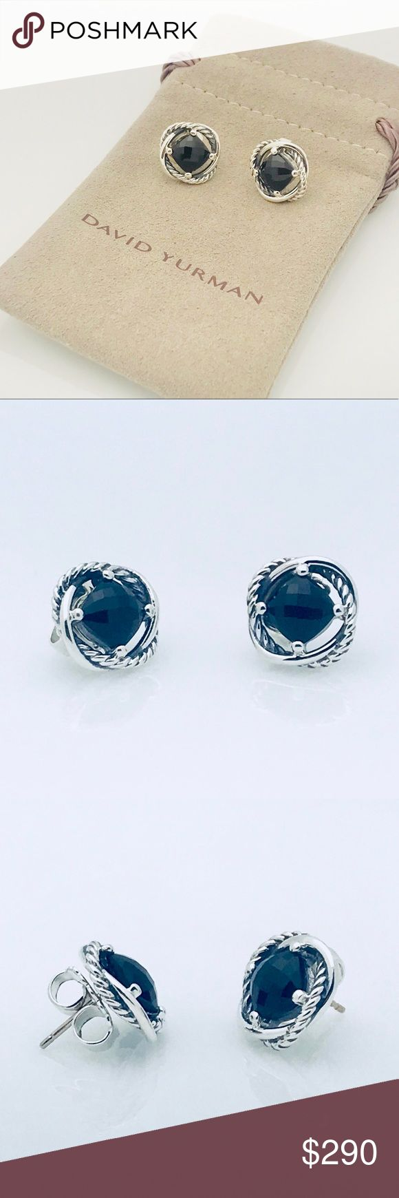 David Yurman Black Onyx Silver Infinity Earrings Beautiful, Elegant Piece 100% Authentic Beautiful Gift For Anyone Fast and Safe Shipping Very Hard to Find Incredible Price Trusted Seller 7 x 7 mm Comes with Pouch David Yurman Jewelry Earrings