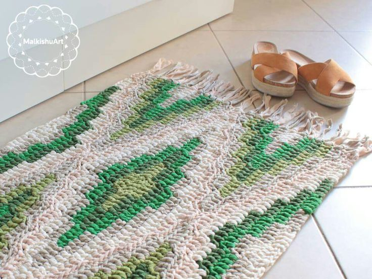 crochet rug, crochet carpet, geometric rug, Katia Big Ribbon yarn in a rug according to the bohemian blanket pattern