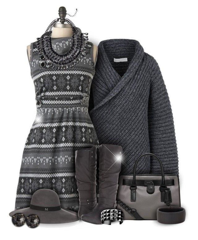 """Shades of Gray Autumn Dress Fashion"" by superstylist ❤ liked on Polyvore featuring STELLA McCARTNEY, Maison Michel, MICHAEL Michael Kors, Fergalicious, Waterford, Sidney Garber and Emily & Ashley"