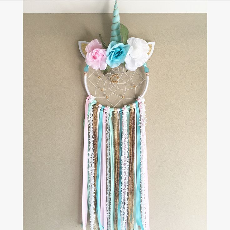 Blue With Pink Unicorn Dreamcatcher  Made with wood, beads, florals, trims, ribbons, yarn, and felt  Medium size Dreamcatcher   Perfect for:  Birthdays, parties, photo shoots, home decor, nurseries, kids decor, or gifts!  Handmade in NJ  Follow us on Instagram! @luneradreams Facebook: luneradreams