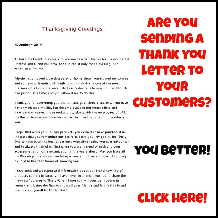 Great idea for a Christmas thank you - Thank you letter for your direct sales customers.