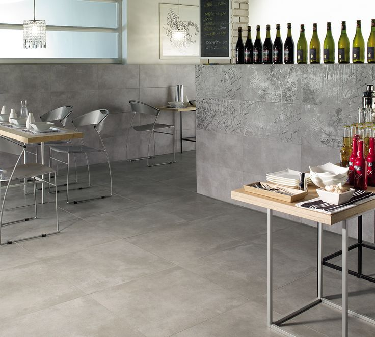 Matt floor and wall Tile porcelain stoneware, silver with graffito decor in large size - New Concrete collection