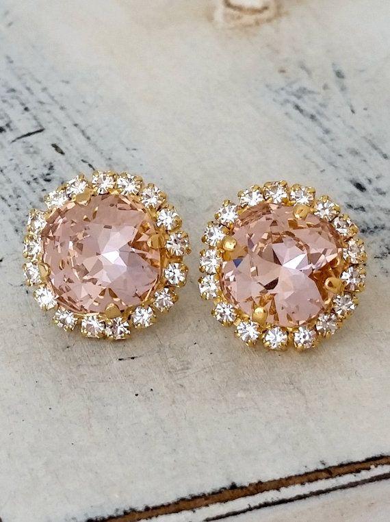 Blush pink earring | Blush bridal earring | Blush crystal earrings by EldorTinaJewelry | http://etsy.me/1O8IzYn