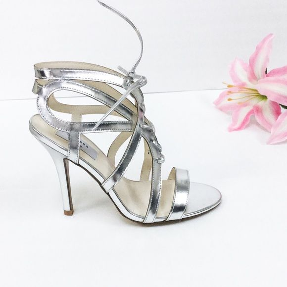 """Silver Sandal Heels Strappy silver sandal, lace up front with 3.5"""" Heel height Chelsea & Zoe Shoes Heels"""